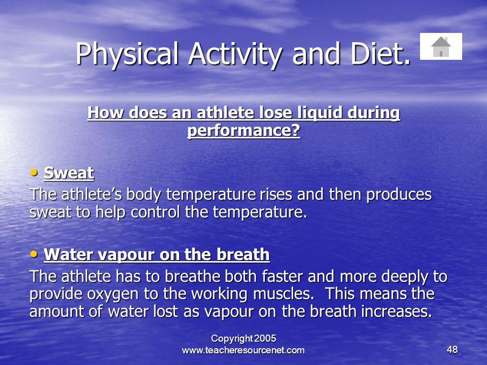 Copyright 2005 www.teacheresourcenet.com48 Physical Activity and Diet. How does an athlete lose liquid during performance? Sweat Sweat The athletes bo