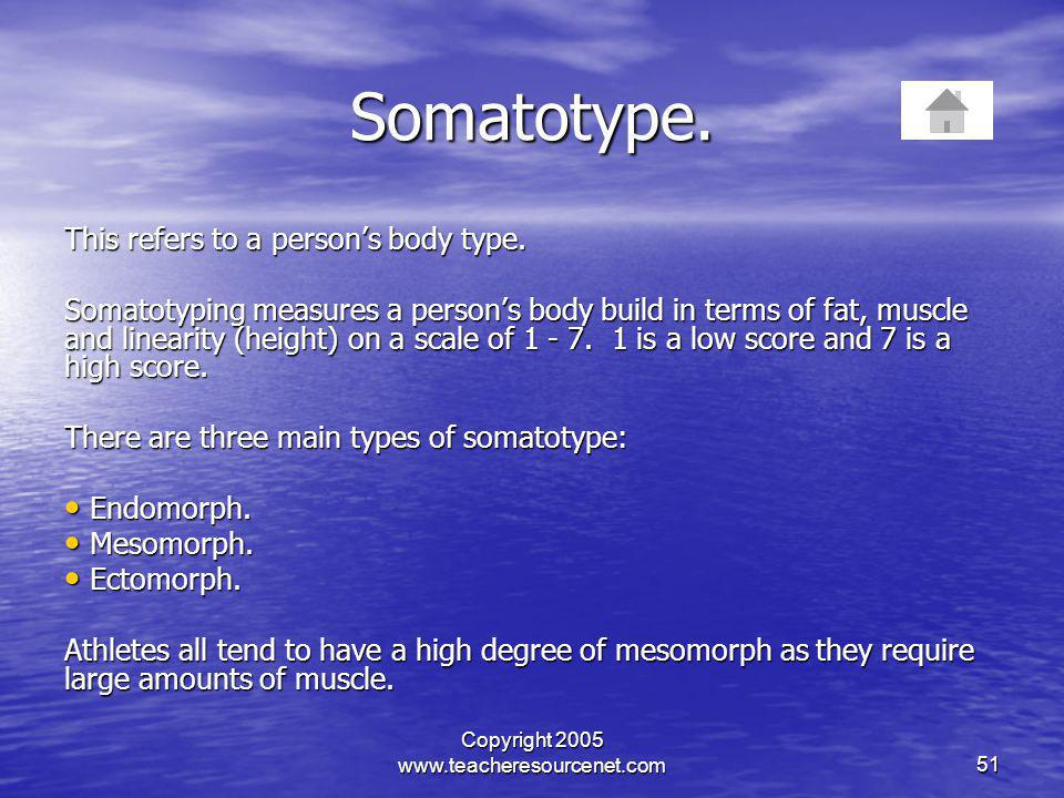 Copyright 2005 www.teacheresourcenet.com51 Somatotype. This refers to a persons body type. Somatotyping measures a persons body build in terms of fat,