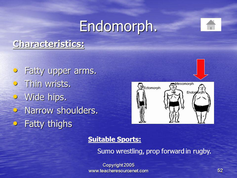 Copyright 2005 www.teacheresourcenet.com52 Endomorph. Characteristics: Fatty upper arms. Fatty upper arms. Thin wrists. Thin wrists. Wide hips. Wide h