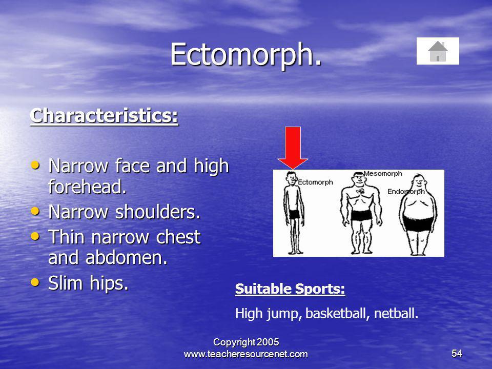 Copyright 2005 www.teacheresourcenet.com54 Ectomorph. Characteristics: Narrow face and high forehead. Narrow face and high forehead. Narrow shoulders.