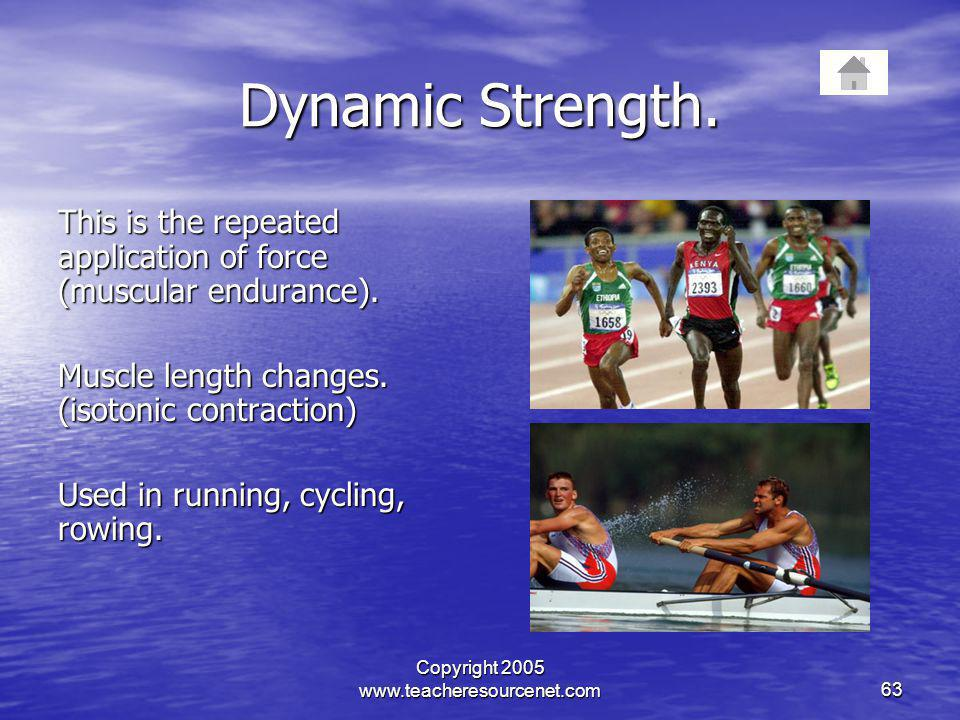Copyright 2005 www.teacheresourcenet.com63 Dynamic Strength. This is the repeated application of force (muscular endurance). Muscle length changes. (i
