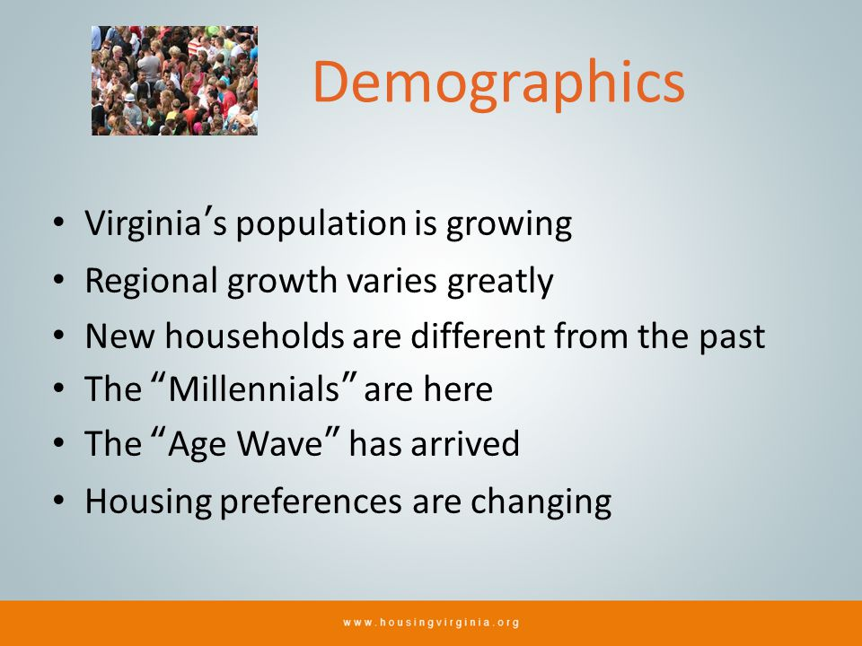 Demographics Virginias population is growing Regional growth varies greatly New households are different from the past The Millennials are here The Age Wave has arrived Housing preferences are changing