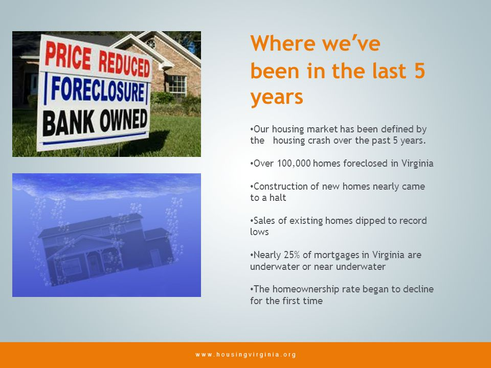 Where weve been in the last 5 years Our housing market has been defined by the housing crash over the past 5 years.