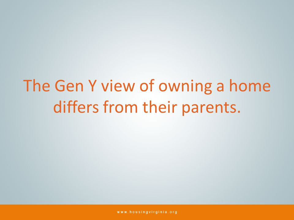 The Gen Y view of owning a home differs from their parents.