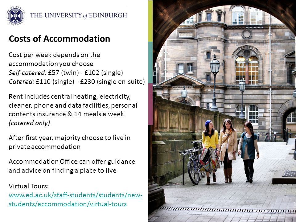 Costs of Accommodation Cost per week depends on the accommodation you choose Self-catered: £57 (twin) - £102 (single) Catered: £110 (single) - £230 (s