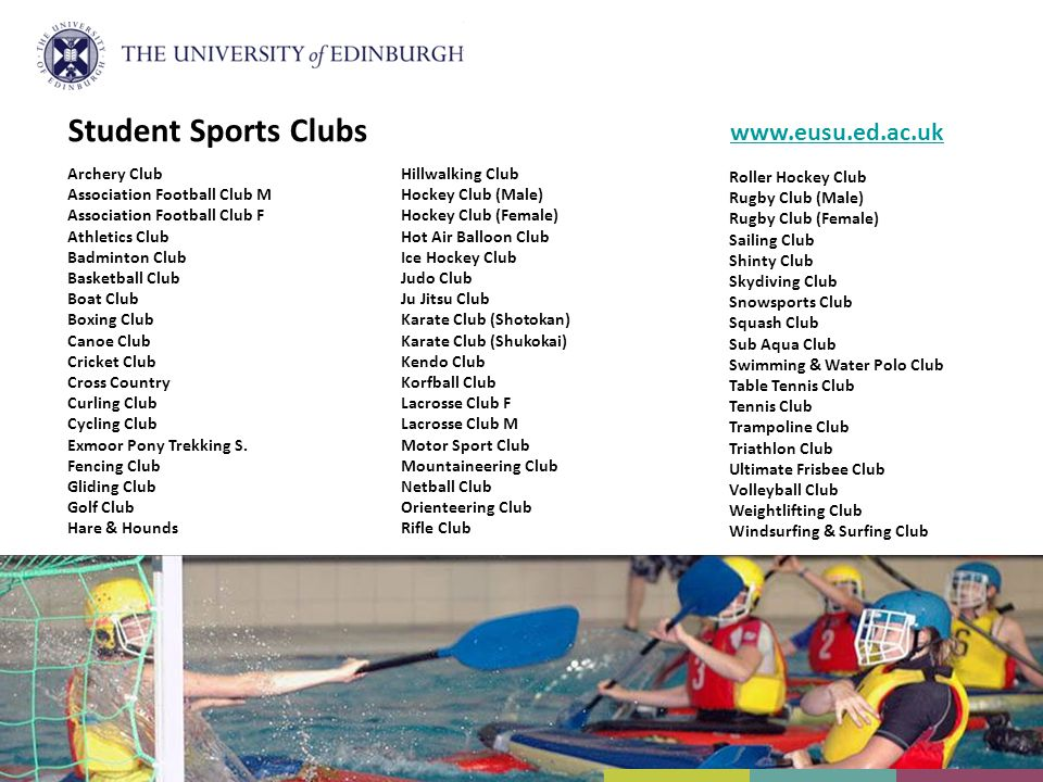 Student Sports Clubs Archery Club Association Football Club M Association Football Club F Athletics Club Badminton Club Basketball Club Boat Club Boxi