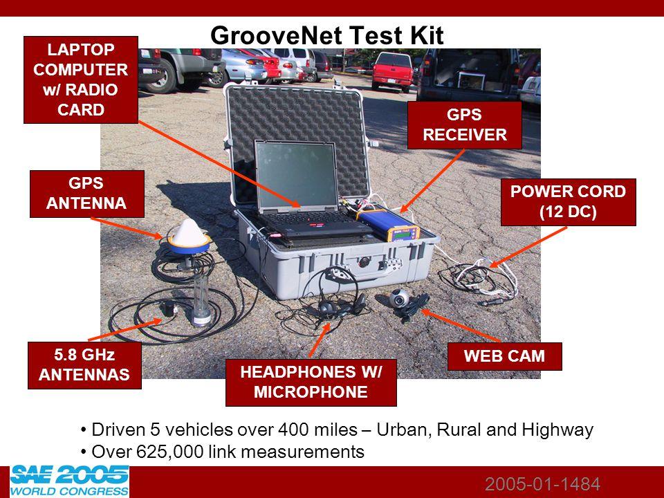 2005-01-1484 GrooveNet Test Kit 5.8 GHz ANTENNAS GPS ANTENNA LAPTOP COMPUTER w/ RADIO CARD HEADPHONES W/ MICROPHONE GPS RECEIVER POWER CORD (12 DC) WE