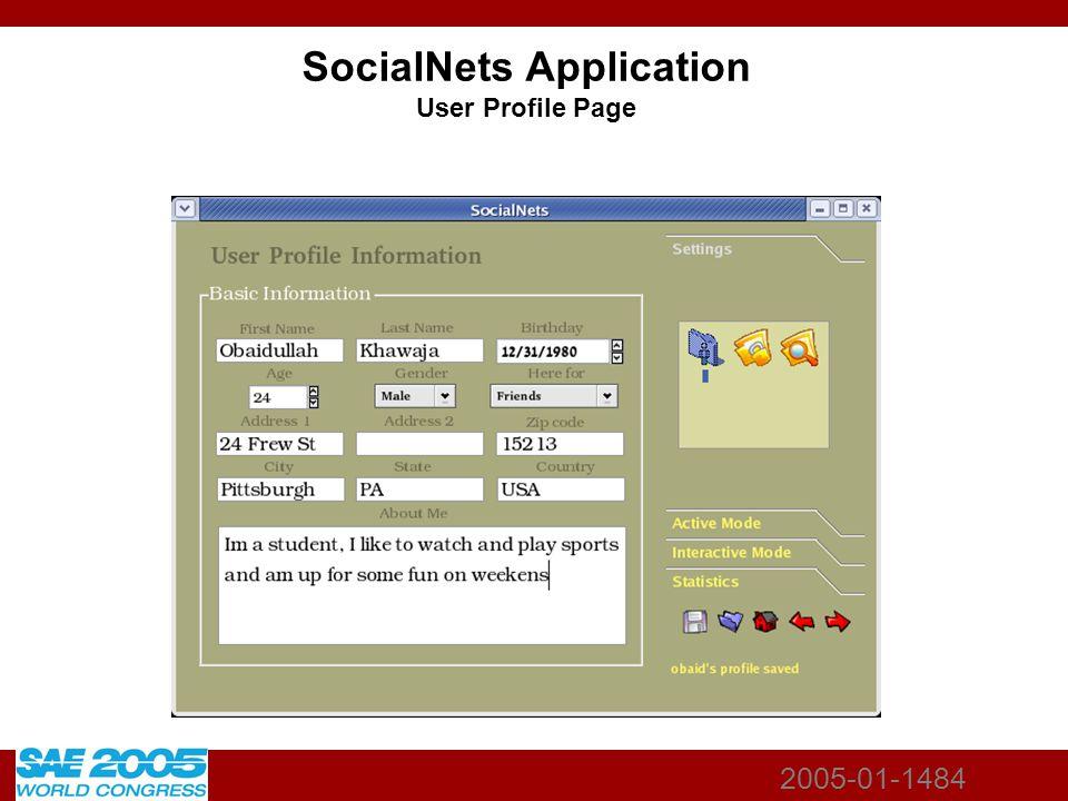 2005-01-1484 SocialNets Application User Profile Page