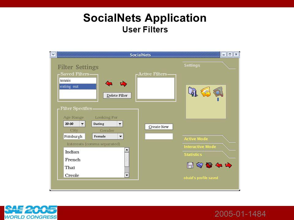 2005-01-1484 SocialNets Application User Filters