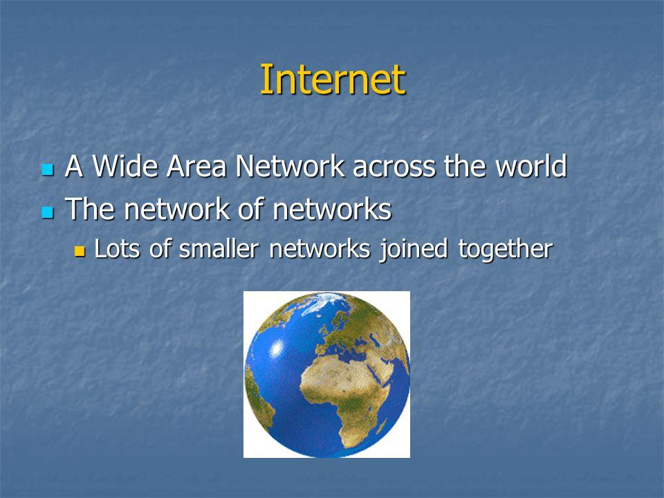 Internet A Wide Area Network across the world A Wide Area Network across the world The network of networks The network of networks Lots of smaller net