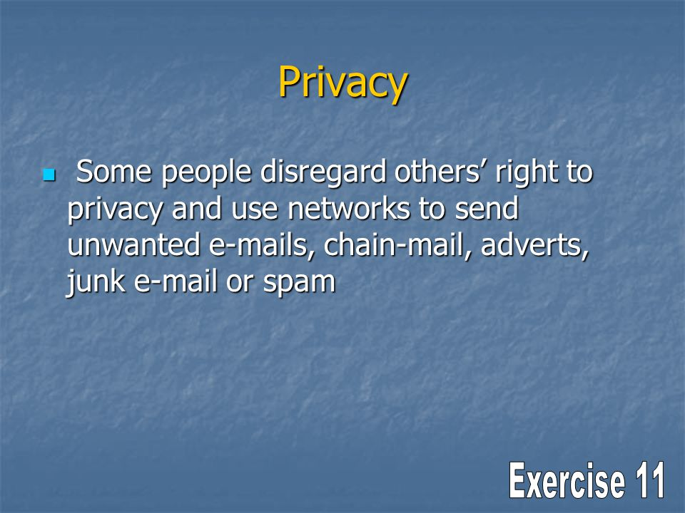 Privacy Some people disregard others right to privacy and use networks to send unwanted e-mails, chain-mail, adverts, junk e-mail or spam Some people