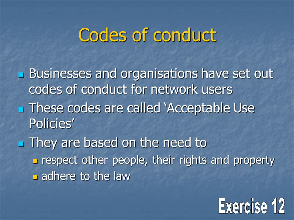 Codes of conduct Businesses and organisations have set out codes of conduct for network users Businesses and organisations have set out codes of condu