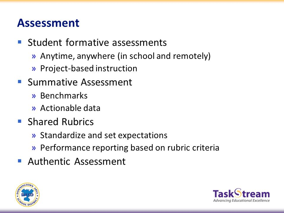 Assessment Student formative assessments »Anytime, anywhere (in school and remotely) »Project-based instruction Summative Assessment »Benchmarks »Acti