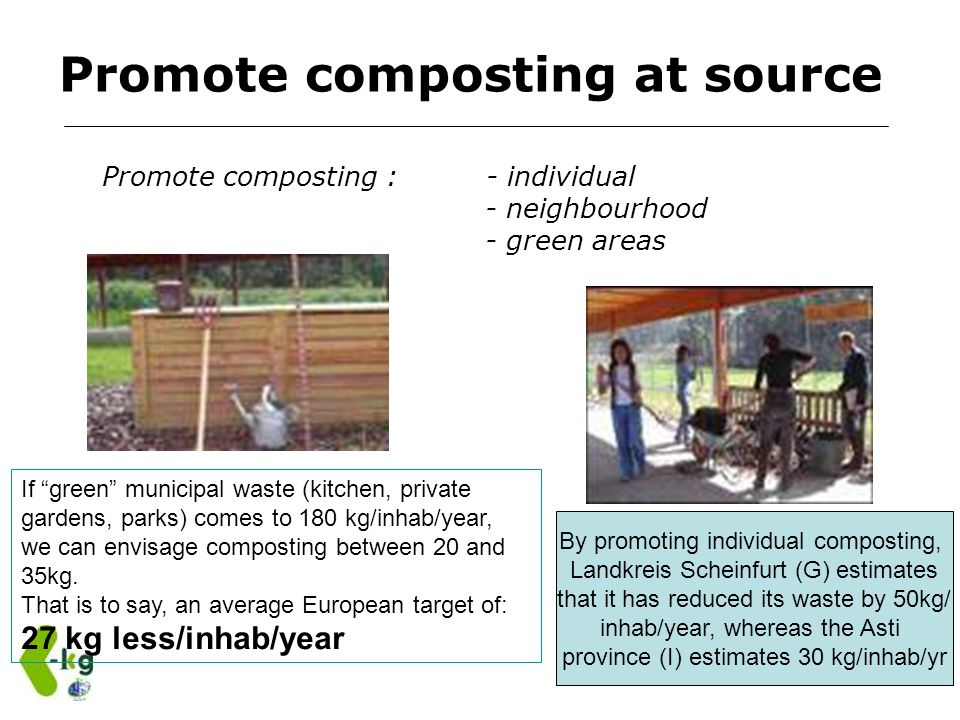 Promote composting at source Promote composting : - individual - neighbourhood - green areas If green municipal waste (kitchen, private gardens, parks