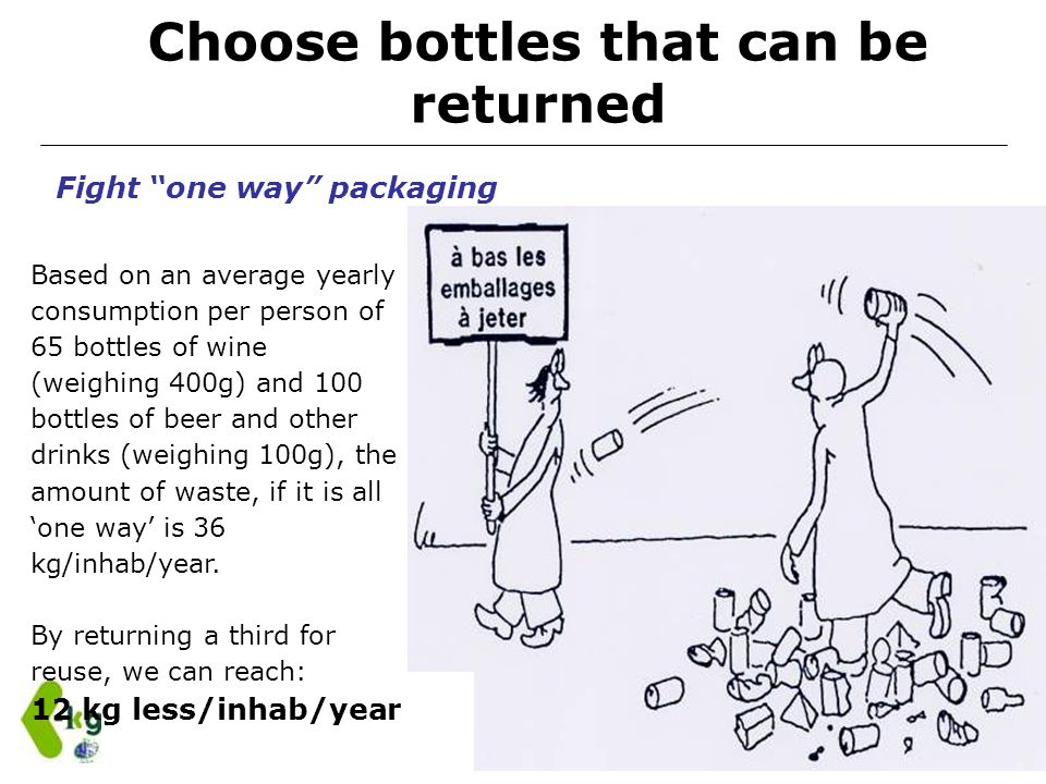 Choose bottles that can be returned Based on an average yearly consumption per person of 65 bottles of wine (weighing 400g) and 100 bottles of beer an