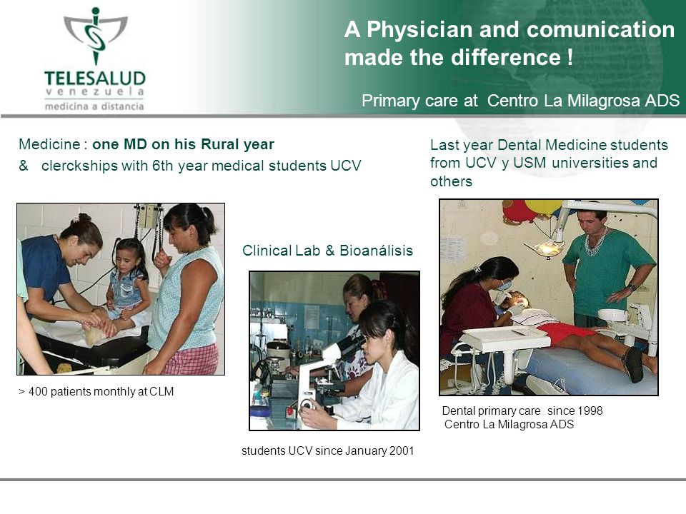 Primary care at Centro La Milagrosa ADS Medicine : one MD on his Rural year & clerckships with 6th year medical students UCV > 400 patients monthly at CLM Last year Dental Medicine students from UCV y USM universities and others Dental primary care since 1998 Centro La Milagrosa ADS Clinical Lab & Bioanálisis students UCV since January 2001 A Physician and comunication made the difference !