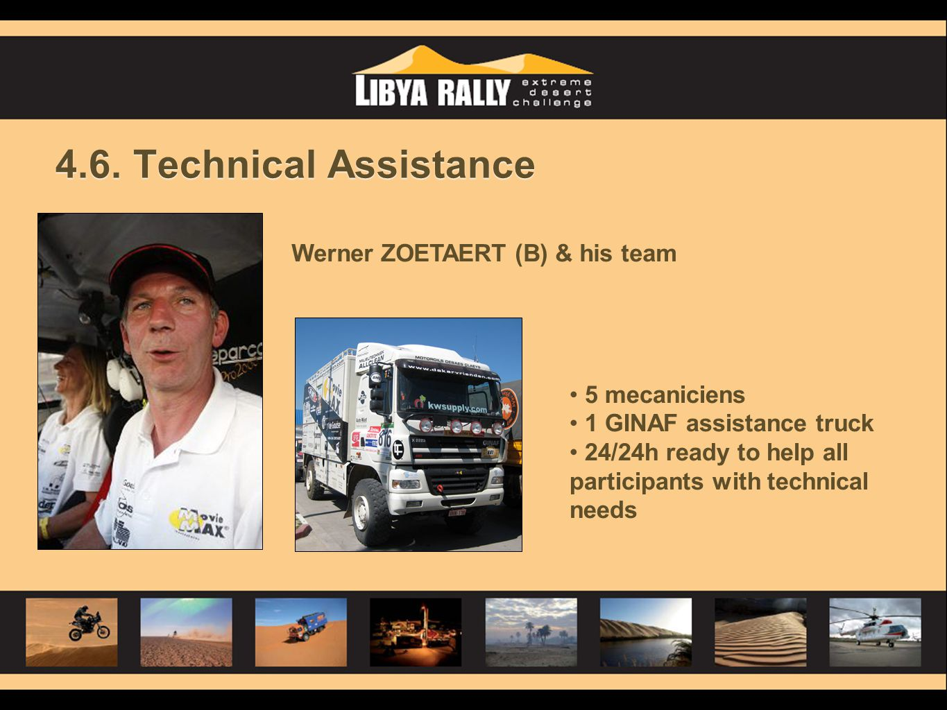 4.6. Technical Assistance Werner ZOETAERT (B) & his team 5 mecaniciens 1 GINAF assistance truck 24/24h ready to help all participants with technical n