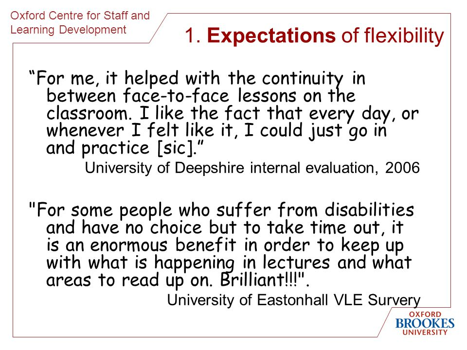 Oxford Centre for Staff and Learning Development For me, it helped with the continuity in between face-to-face lessons on the classroom.