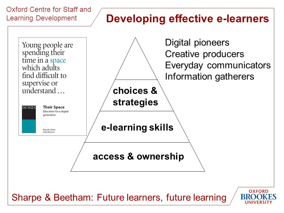 Oxford Centre for Staff and Learning Development Sharpe & Beetham: Future learners, future learning Digital pioneers Creative producers Everyday communicators Information gatherers access & ownership e-learning skills choices & strategies Developing effective e-learners