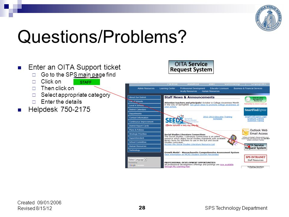 SPS Technology Department 28 Questions/Problems.