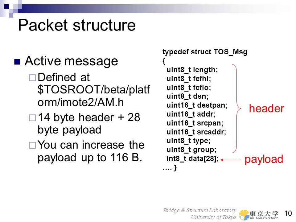 Bridge & Structure Laboratory University of Tokyo 10 Packet structure Active message Defined at $TOSROOT/beta/platf orm/imote2/AM.h 14 byte header + 2