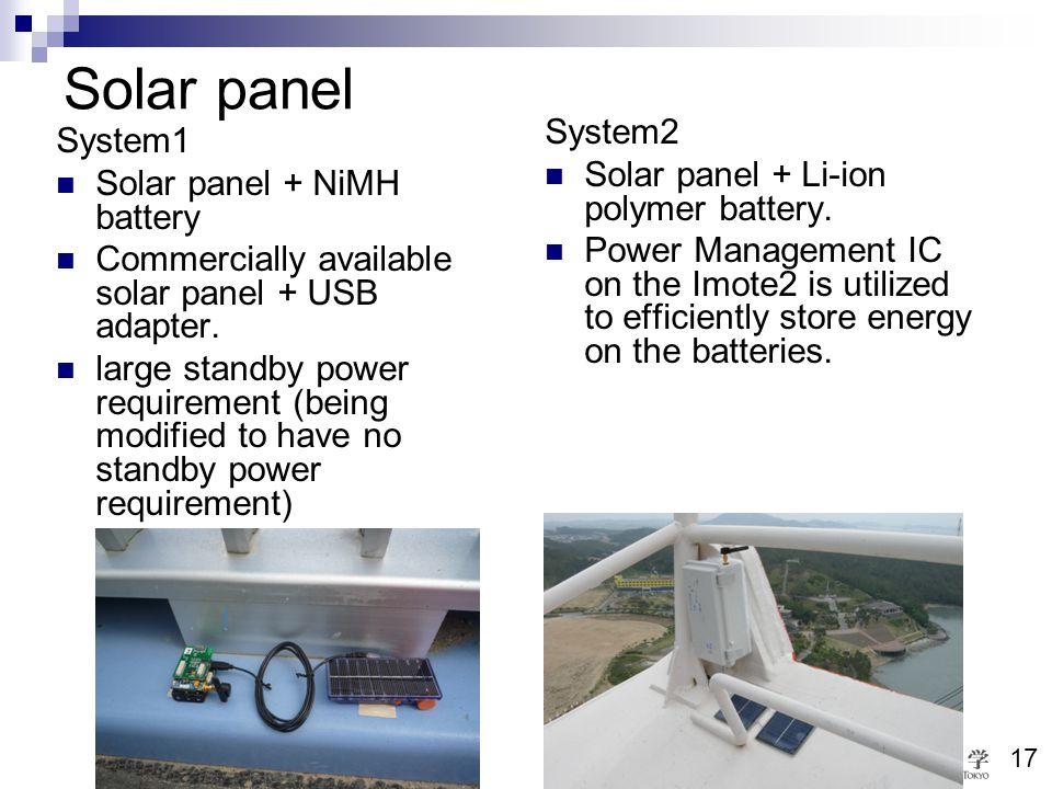 Bridge & Structure Laboratory University of Tokyo 17 Solar panel System2 Solar panel + Li-ion polymer battery. Power Management IC on the Imote2 is ut