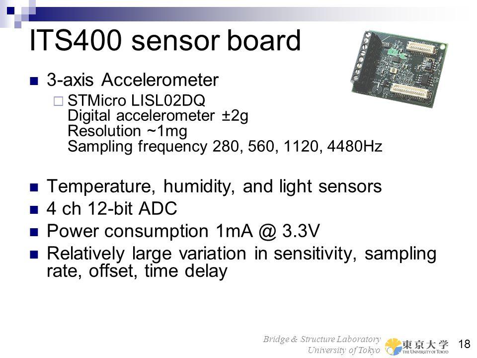Bridge & Structure Laboratory University of Tokyo 18 ITS400 sensor board 3-axis Accelerometer STMicro LISL02DQ Digital accelerometer ±2g Resolution ~1