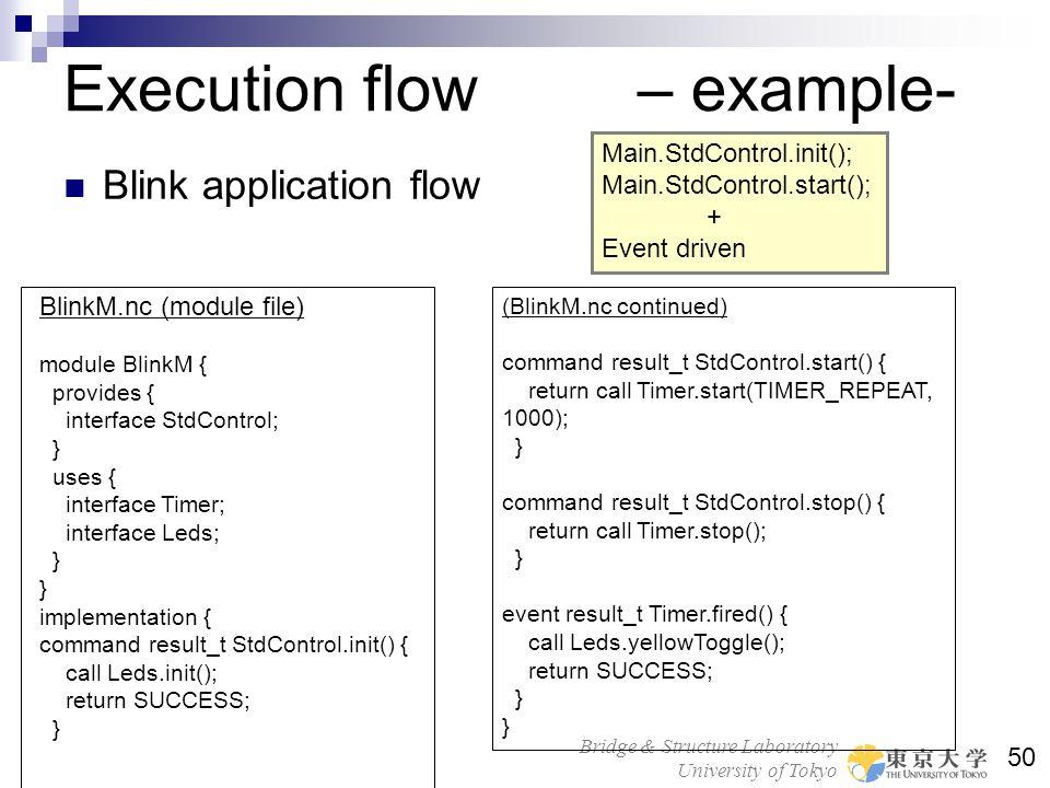 Bridge & Structure Laboratory University of Tokyo 50 Execution flow – example- Blink application flow BlinkM.nc (module file) module BlinkM { provides
