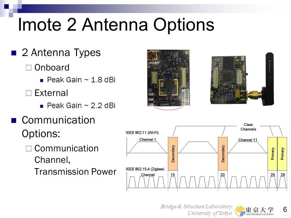 Bridge & Structure Laboratory University of Tokyo 6 Imote 2 Antenna Options 2 Antenna Types Onboard Peak Gain ~ 1.8 dBi External Peak Gain ~ 2.2 dBi C
