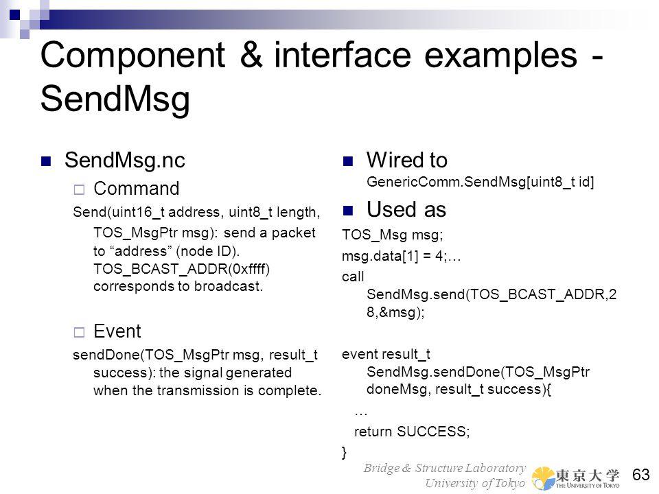 Bridge & Structure Laboratory University of Tokyo 63 Component & interface examples - SendMsg SendMsg.nc Command Send(uint16_t address, uint8_t length