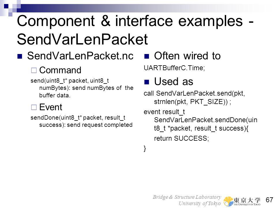 Bridge & Structure Laboratory University of Tokyo 67 Component & interface examples - SendVarLenPacket SendVarLenPacket.nc Command send(uint8_t* packe
