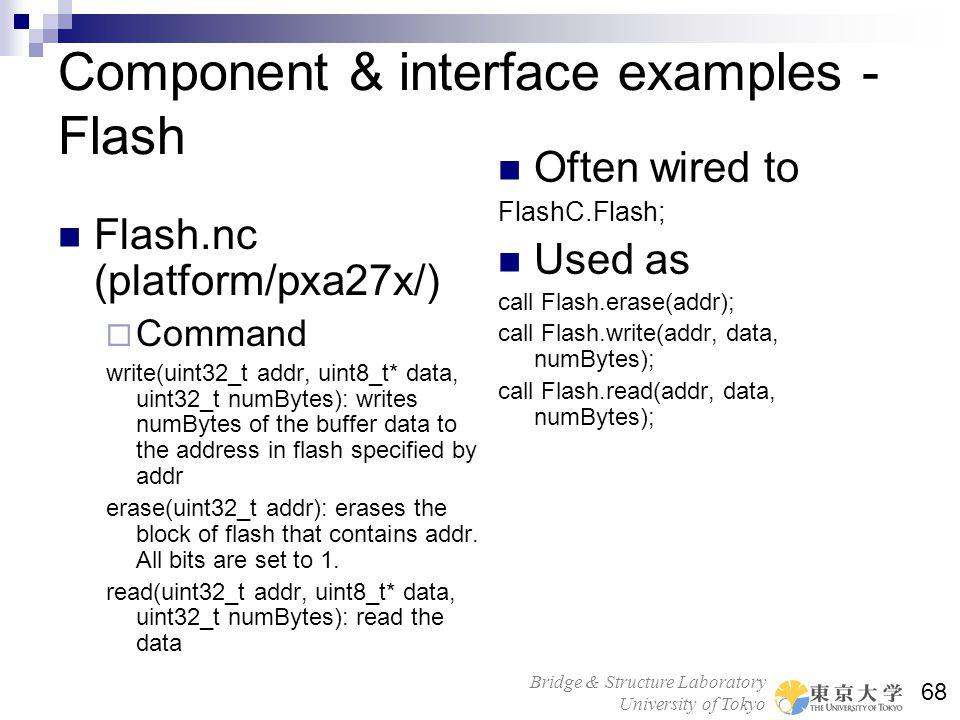 Bridge & Structure Laboratory University of Tokyo 68 Component & interface examples - Flash Flash.nc (platform/pxa27x/) Command write(uint32_t addr, u