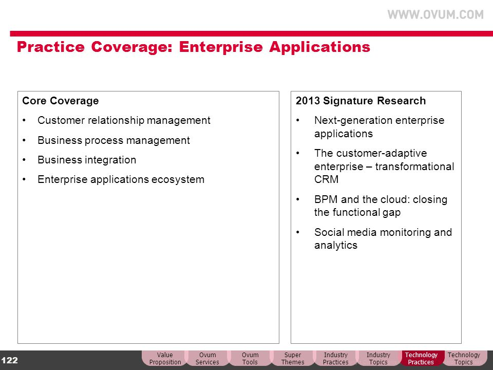 © Copyright Ovum. All rights reserved. Ovum is an Informa business. 122 Practice Coverage: Enterprise Applications Core Coverage Customer relationship