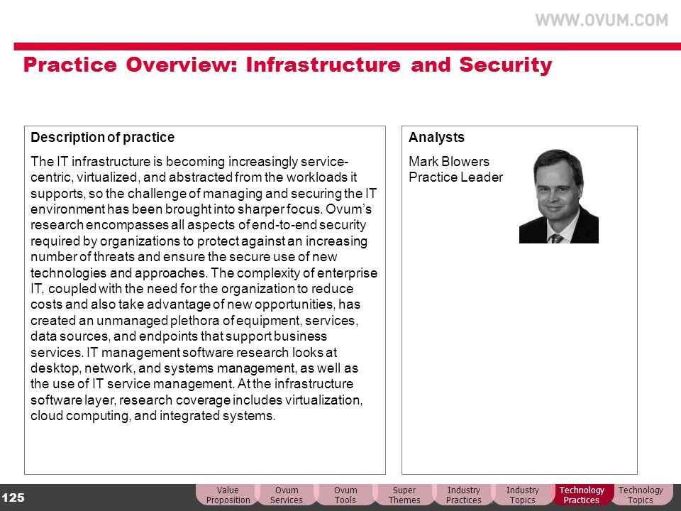 © Copyright Ovum. All rights reserved. Ovum is an Informa business. 125 Practice Overview: Infrastructure and Security Description of practice The IT