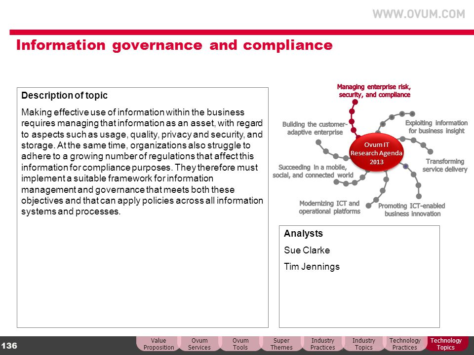 © Copyright Ovum. All rights reserved. Ovum is an Informa business. 136 Information governance and compliance Description of topic Making effective us