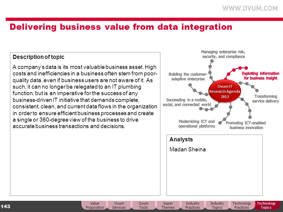 © Copyright Ovum. All rights reserved. Ovum is an Informa business. 143 Delivering business value from data integration Description of topic A company