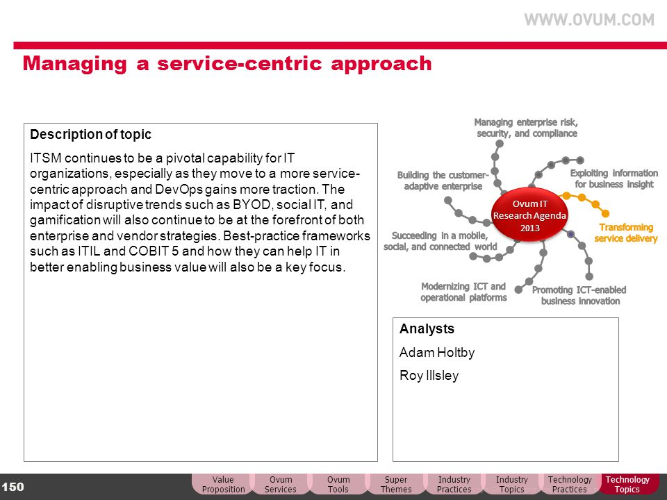 © Copyright Ovum. All rights reserved. Ovum is an Informa business. 150 Managing a service-centric approach Description of topic ITSM continues to be