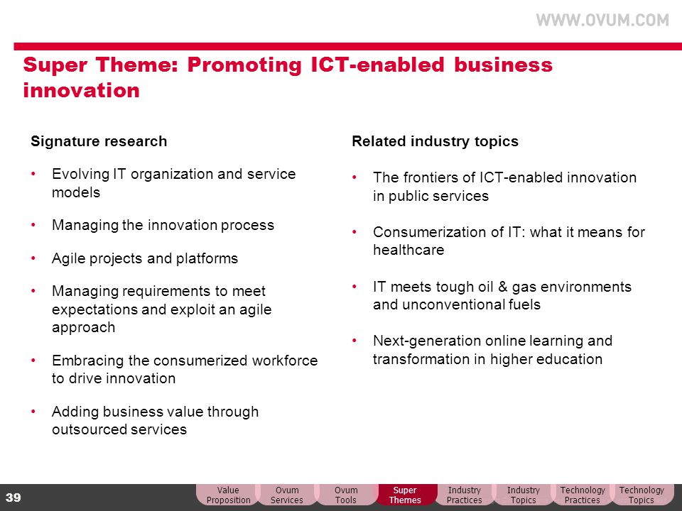 © Copyright Ovum. All rights reserved. Ovum is an Informa business. 39 Super Theme: Promoting ICT-enabled business innovation Signature research Evolv