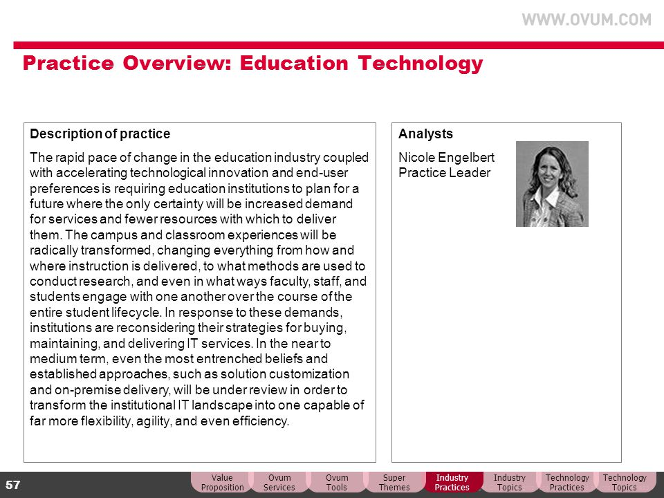 © Copyright Ovum. All rights reserved. Ovum is an Informa business. 57 Practice Overview: Education Technology Description of practice The rapid pace