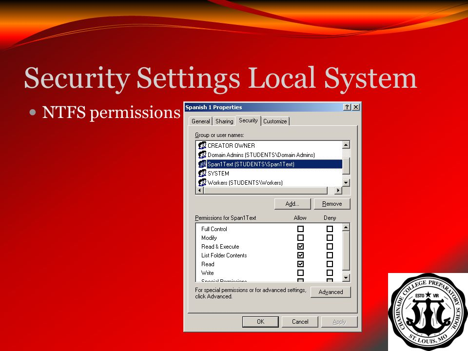Security Settings Local System NTFS permissions