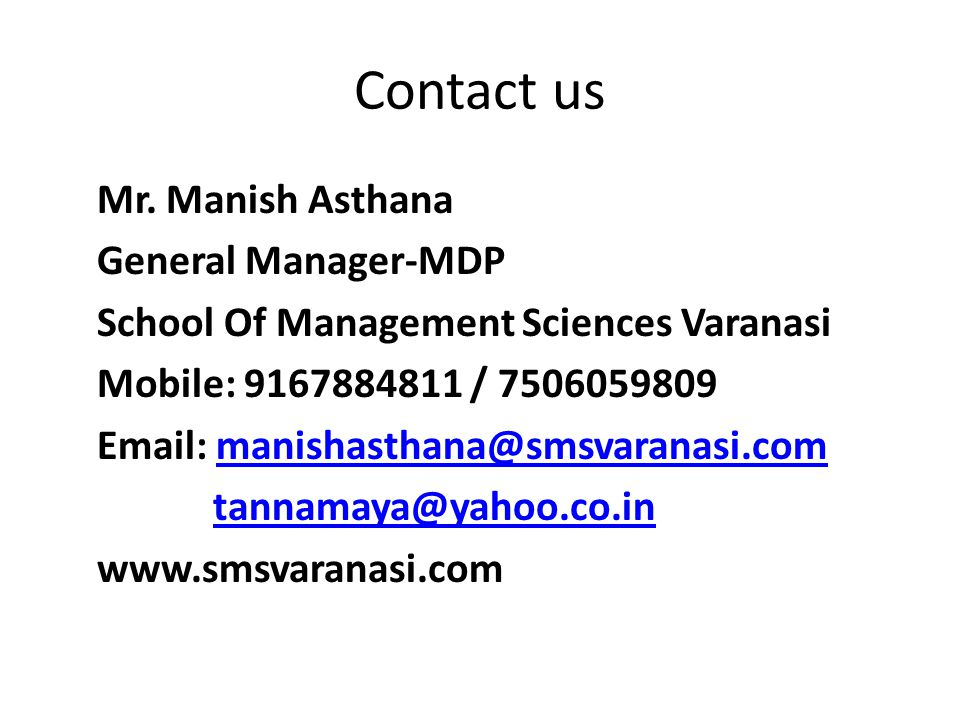 Contact us Mr.