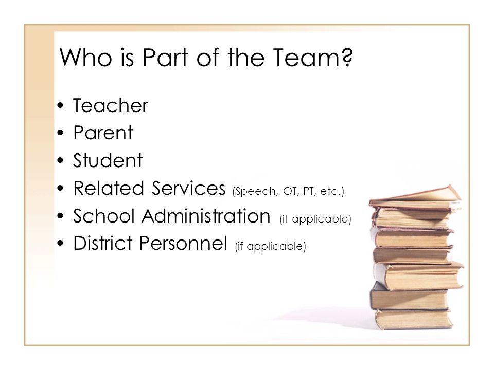 Who is Part of the Team? Teacher Parent Student Related Services (Speech, OT, PT, etc.) School Administration (if applicable) District Personnel (if a