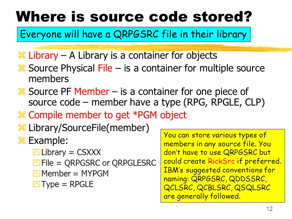 12 Where is source code stored.