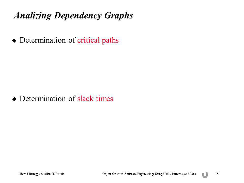 Bernd Bruegge & Allen H. Dutoit Object-Oriented Software Engineering: Using UML, Patterns, and Java 15 Analizing Dependency Graphs Determination of cr