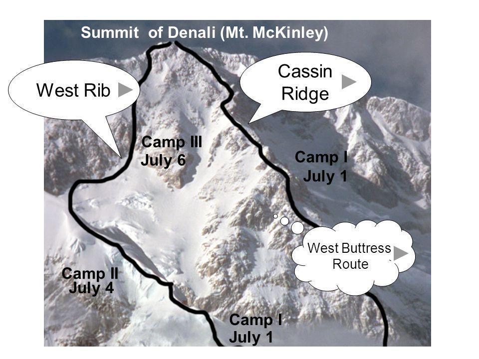 Camp III Camp II Camp I July 1 July 4 July 6 Summit of Denali (Mt. McKinley) July 1 Camp I Cassin Ridge West Rib West Buttress Route