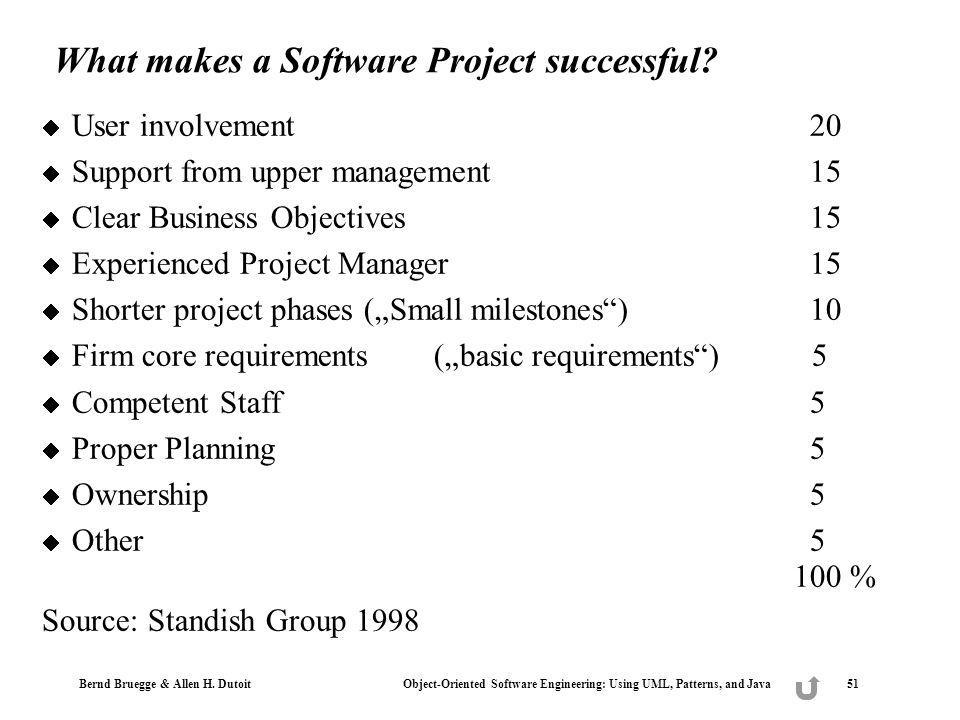 Bernd Bruegge & Allen H. Dutoit Object-Oriented Software Engineering: Using UML, Patterns, and Java 51 What makes a Software Project successful? User