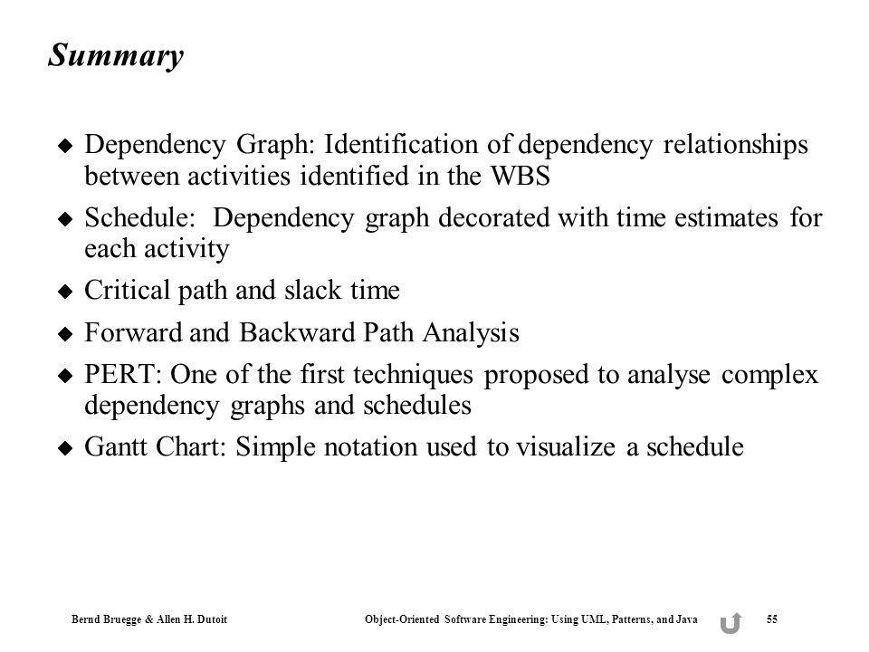 Bernd Bruegge & Allen H. Dutoit Object-Oriented Software Engineering: Using UML, Patterns, and Java 55 Summary Dependency Graph: Identification of dep