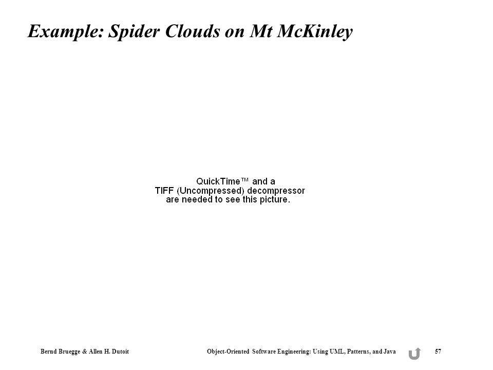 Bernd Bruegge & Allen H. Dutoit Object-Oriented Software Engineering: Using UML, Patterns, and Java 57 Example: Spider Clouds on Mt McKinley