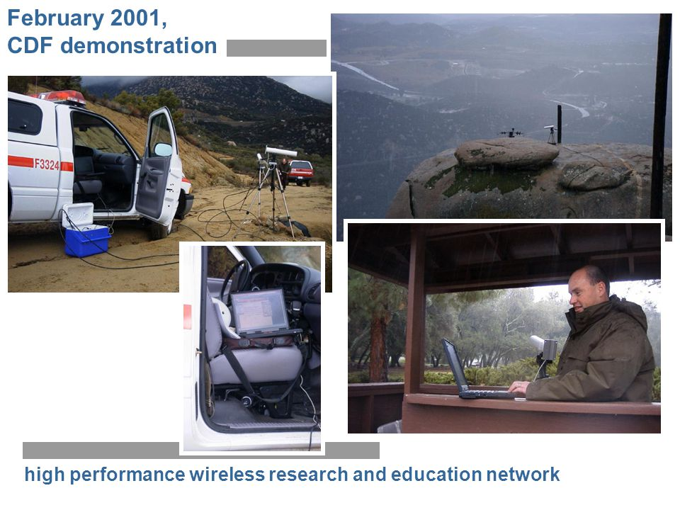 high performance wireless research and education network February 2001, CDF demonstration