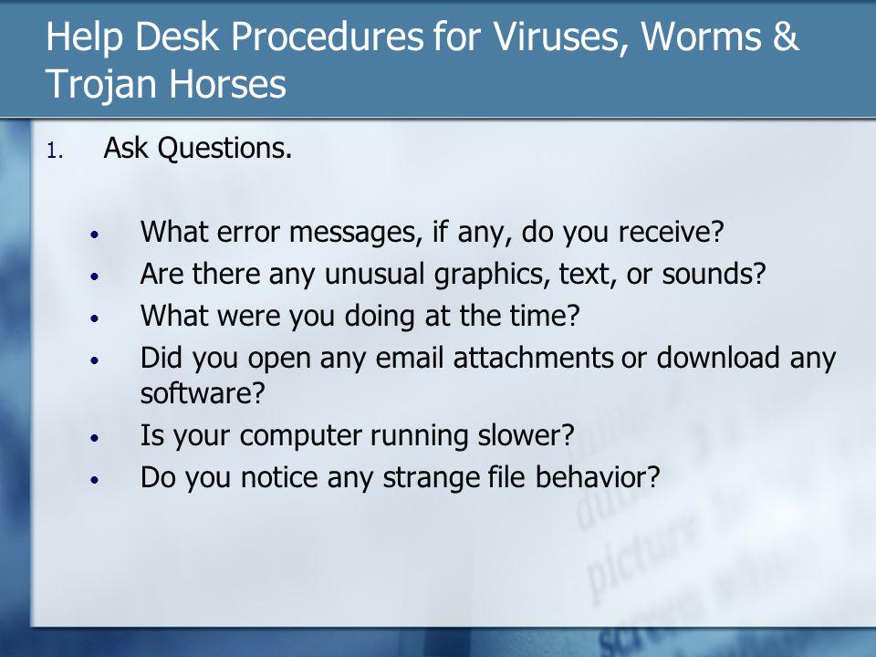 Help Desk Procedures for Viruses, Worms & Trojan Horses 1.